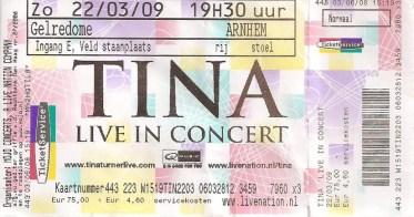 Tina Turner - Arnhem - March 22, 2009 - ticket