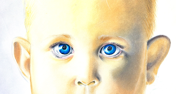 Pastel drawing of a baby's face by Tina Wilson