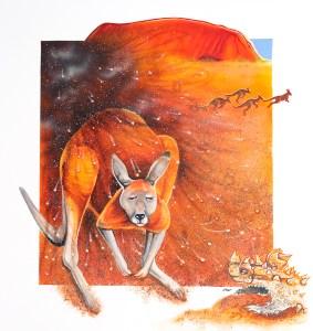 Kangaroo illustration by artist Tina Wilson