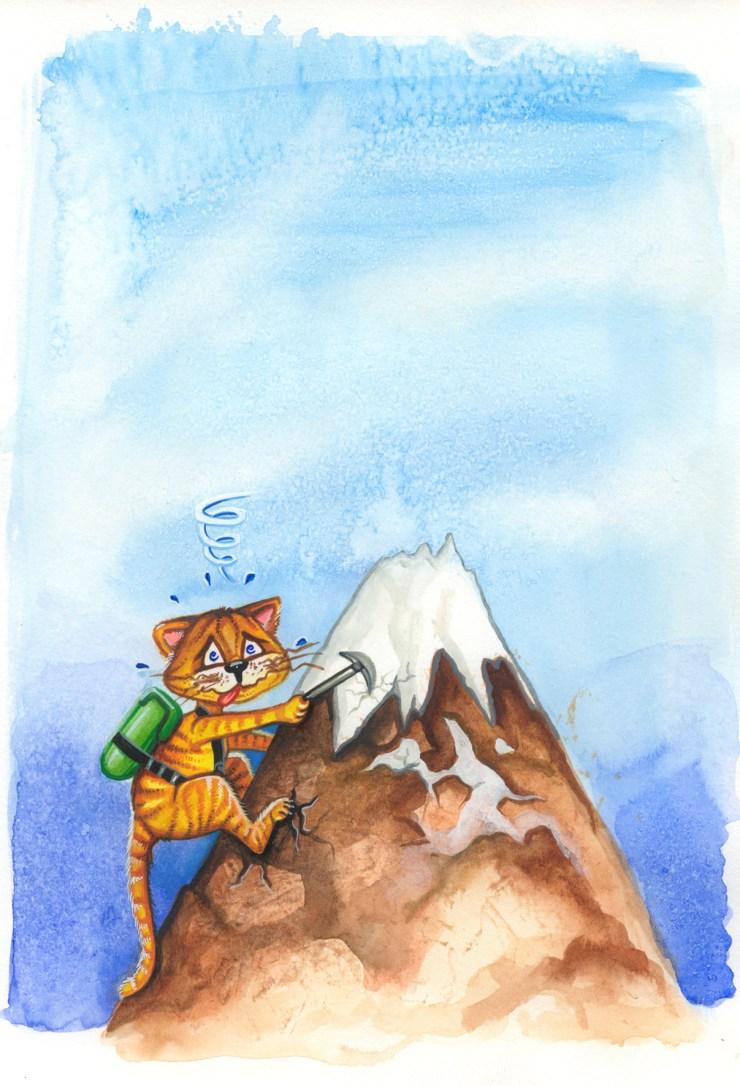 Drawing of a cat climbing a mountain
