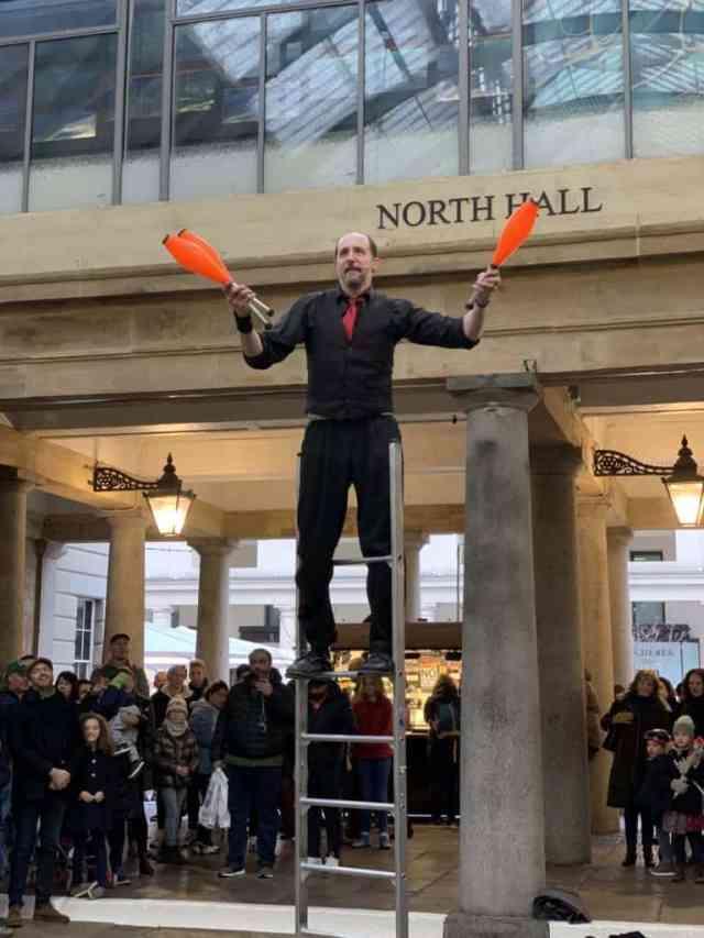 Busker on stilts in Covent Garden