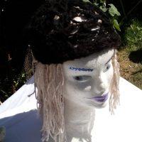 Bonnet alpaga noir tricoté au crochet, filé main