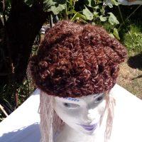 Bonnet lin et alpaga chocolate, naturel, filé main, crochet