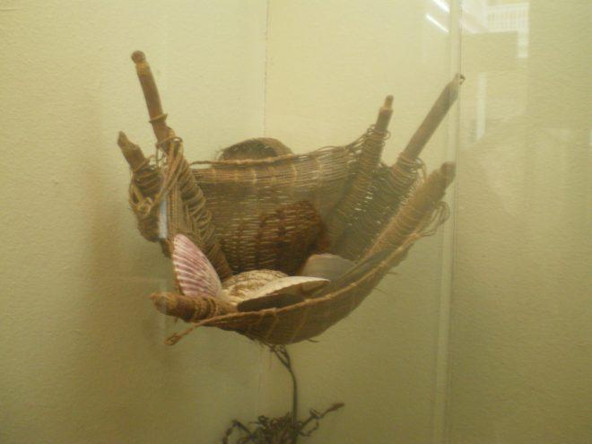 Panier - filet de pêche tissé, Musée d'Iquique, Nord du Chili