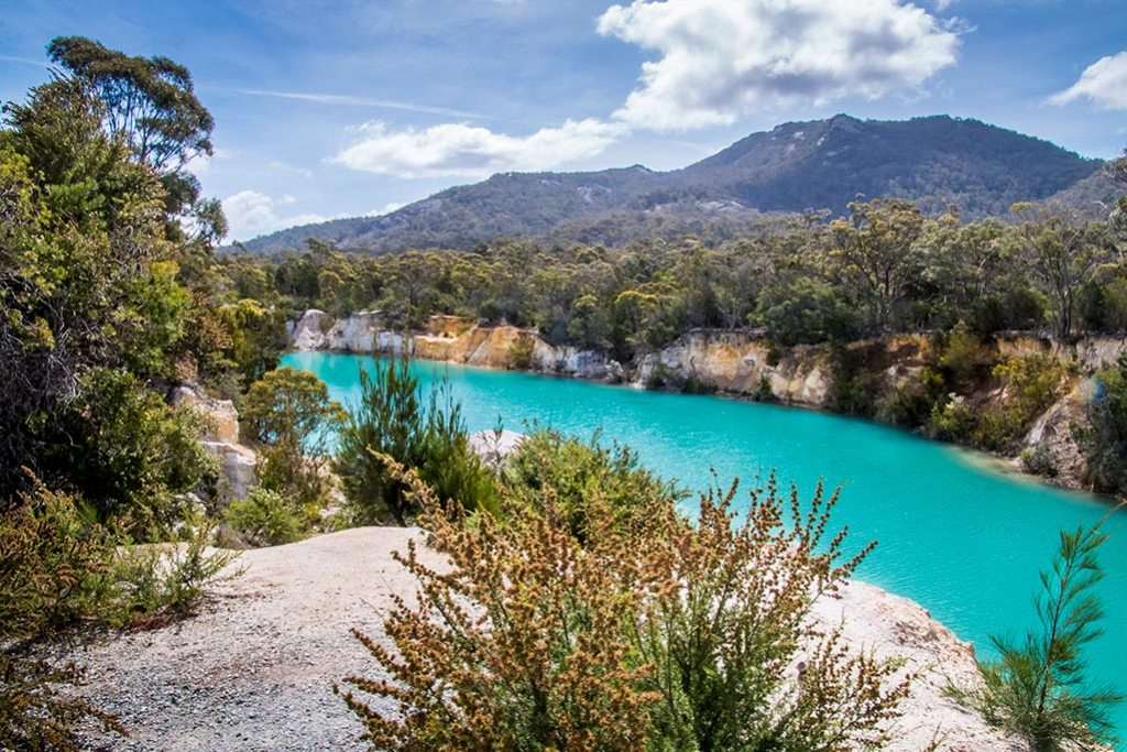 This vivid aqua-blue lake is a heritage tin mining site in North East Tasmania
