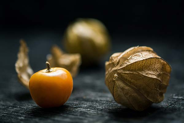 Single ripe gooseberry sitting next to a gold-coloured outer fruit capsule.