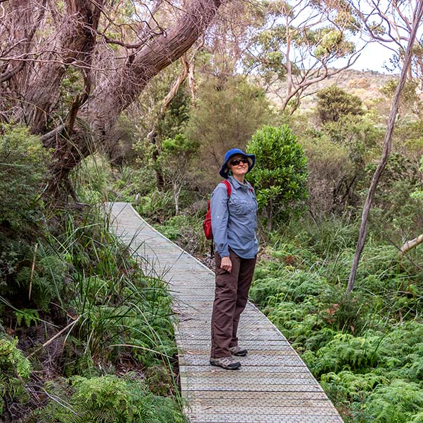 Christine is standing on a boardwalk surrounded by ferns and shady trees.