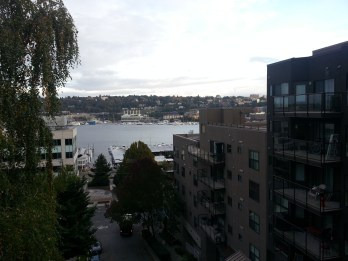 View of Lake Union from the Galer St. pedestrian bridge in Queen Anne (day)