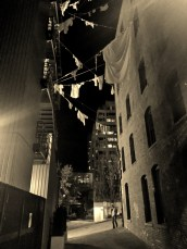 Hey, people still hang clothes, even in downtown - right above Post Alley.