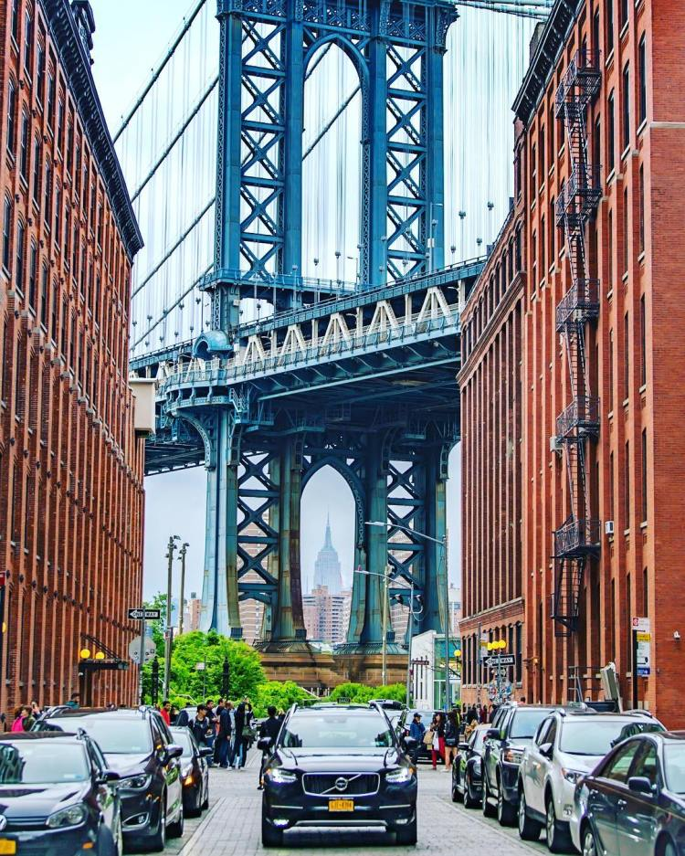 View of the Empire State Building from Dumbo (Down Under the Manhattan Bridge Overpass, DUMBO, Brooklyn
