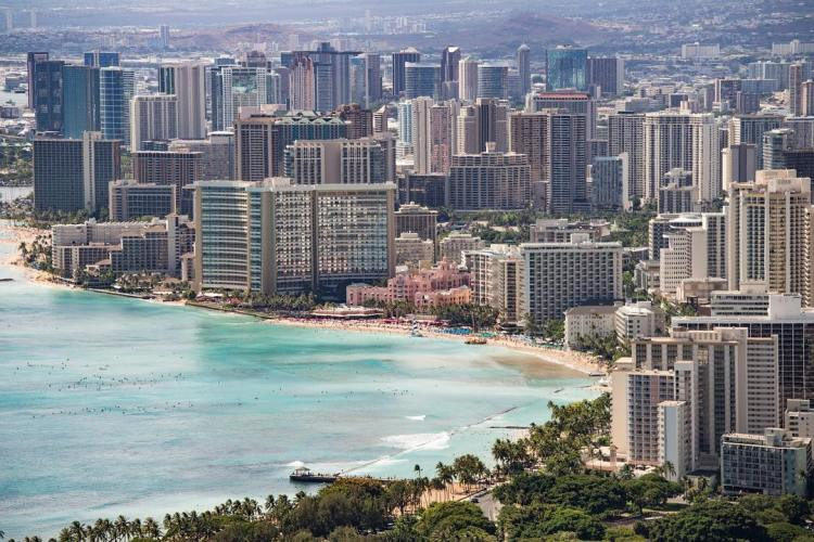 View of Waikiki beach from the Diamond Head Crater, Diamond Head Summit Viewpoint