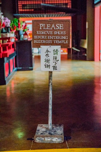 Please remove shoes before entering the Buddhist temple.