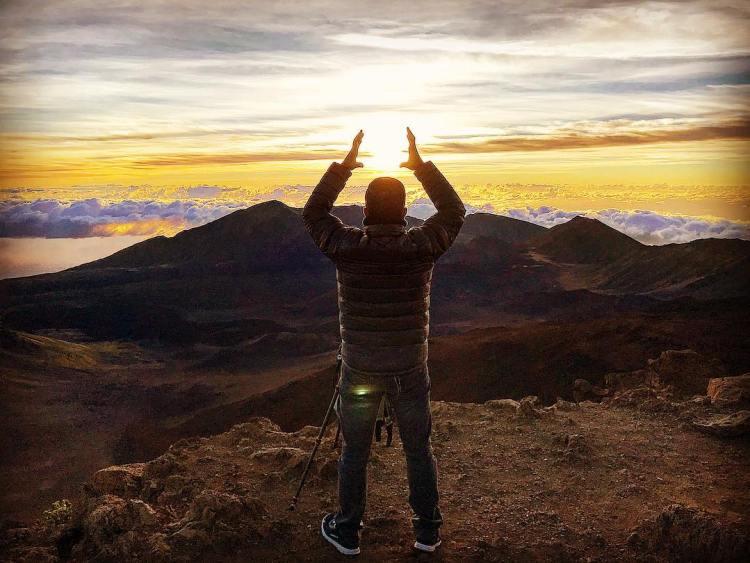 Fun with the sun at Haleakalā Volcano Crater. Elevation 9,740 ft, Haleakala Crater – Maui, Hi