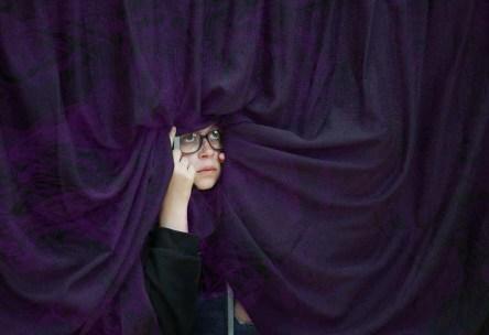woman curtainsmoke