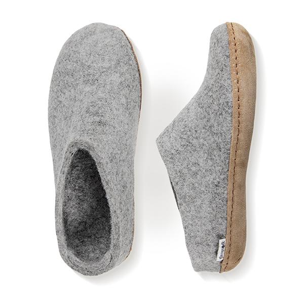 Glerups hjemmesko i grå - fremstillet af 100% naturligt uld