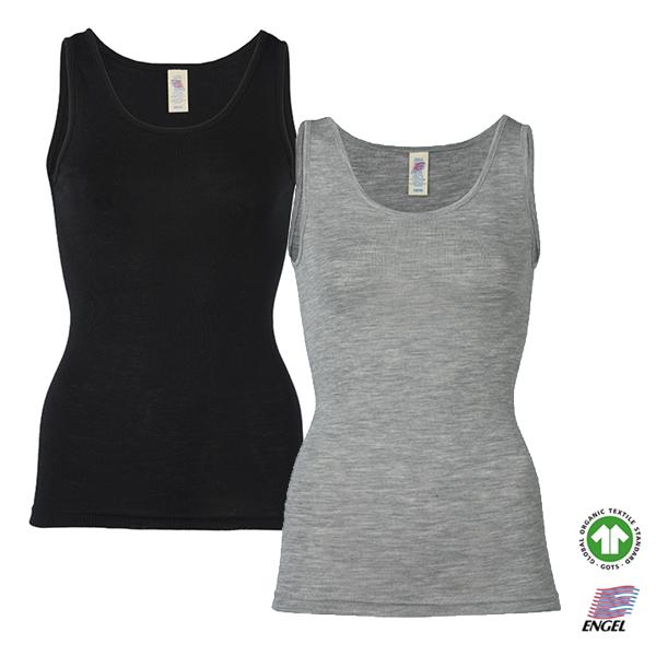 Engel uld top dame - fås i 2 farver grå eller sort