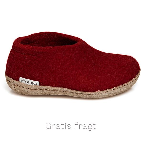 Glerups hjemmesko til børn i uld - her i farven rød. kr 350 incl fragt