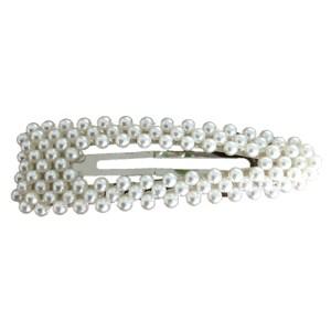 Stort hårspænde med perler - her med sølv spænde - kr. 50