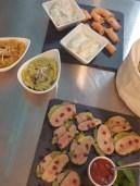 Snacks Fois Gras Toma og Pesto Hummos Salmon Basil