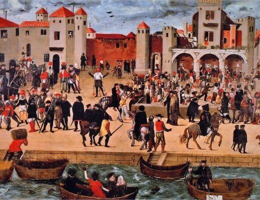 Chafariz d'el Rey in the Alfama District (View of a Square with the Kings Fountain in Lisbon), ca. 1570-88