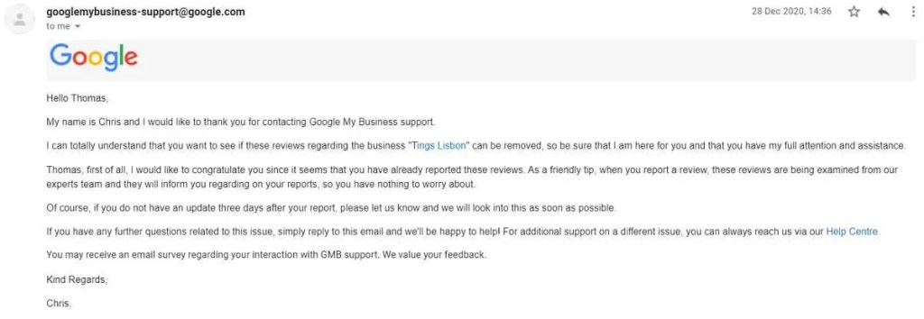 1: The first mail - after Flagging the reviews, replying each review AND filing an on-line report with detailed information/documentation referring to Googles Policy. Since they Google has dedicated specialists we take things easy and wait for them to get back for our documentation.