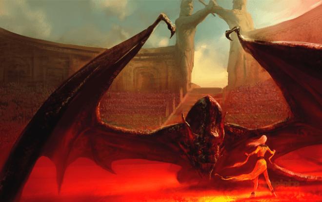 Ilustração da capa do livro, onde um dração enorme e negro encara a pequena Daenerys em meio a um mar de pessoas que assiste da arquibancada