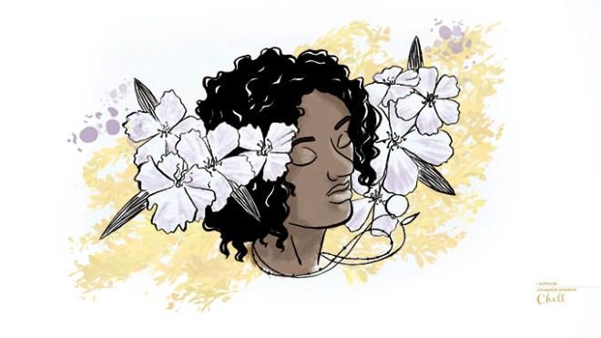 Ilustração de uma mulher negra de olhos fechados com semblante tranquilo em meio a flores.