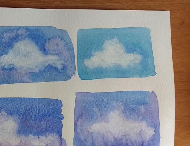 Curso de aquarela - fazendo nuvens
