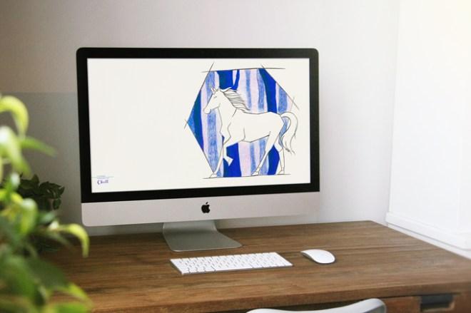 Mockup de papel do parede em um iMac. Um unicórnio sem muitos detalhes em caneta preta, sem cor, do lado direito. Atrás dele existem árvores da Floresta Proibida em sombra, tons de roxo e azul.