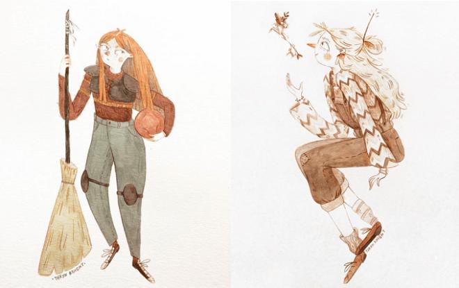 Potter Week Prompts, desenhos da Taryn: Gina com uniforme de quadribol e Luna ao lado com um animalzinho voador