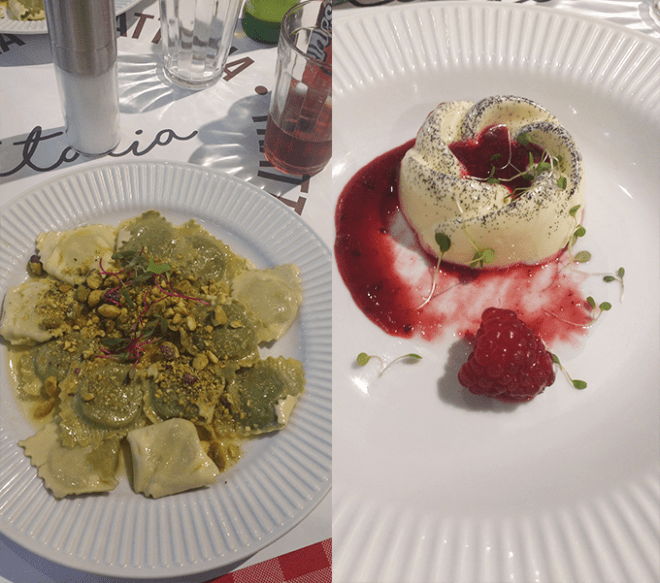 Ravioli e Mousse de baunilha