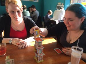 Beth and Kat playing Rhino Hero