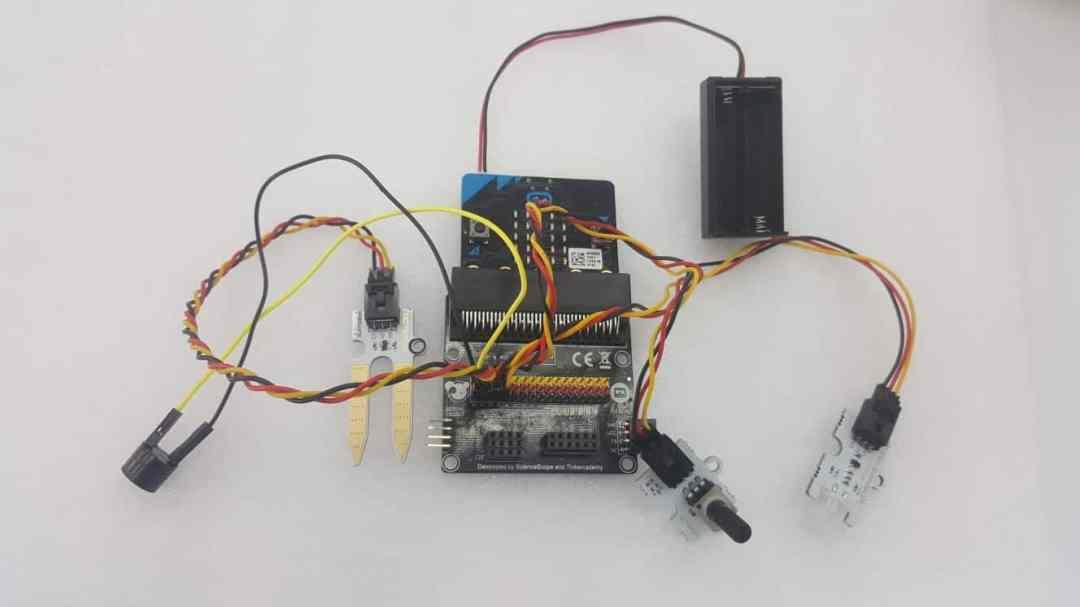 Pin 0 - Buzzer, Pin 1 - Soil Moisture, Pin 2 PIR Sensor, Pin 3 Potentiometer