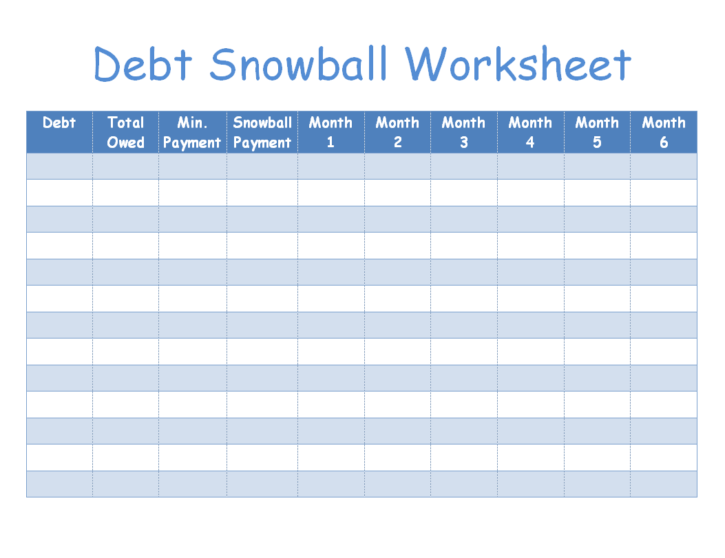 Debt Snowball Worksheet Image