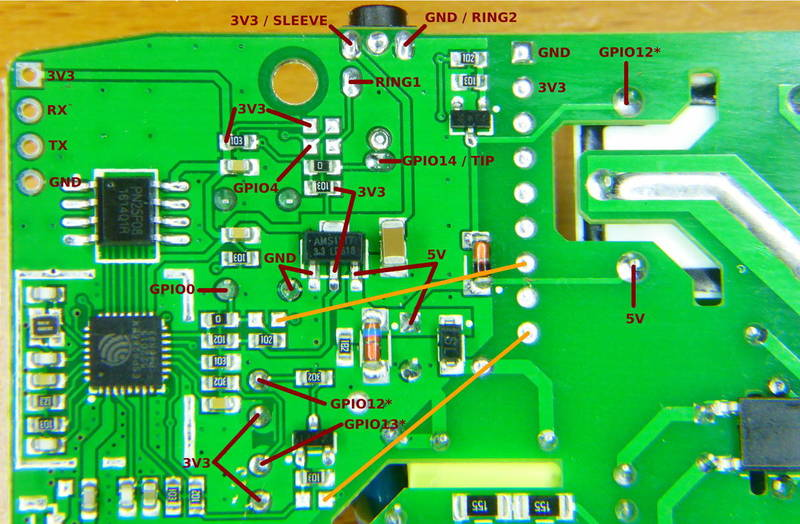 hight resolution of named pads headers and test points in the sonoff th10 board