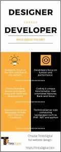 website design v developer infographic
