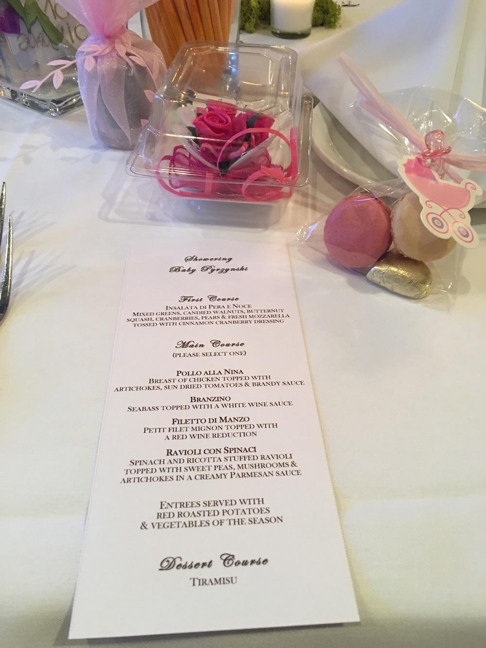 Frankie's Ristorante Baby Shower menu