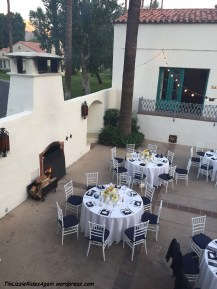 Tables set up in Greta Garbo's courtyard - check out the fire place!