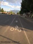 Bike lane in Enterprise, heading towards the Wallowa mountains
