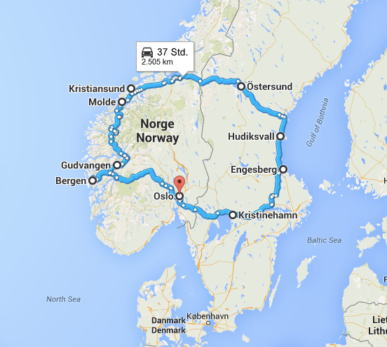 Karte Roadtrip Skandinavien