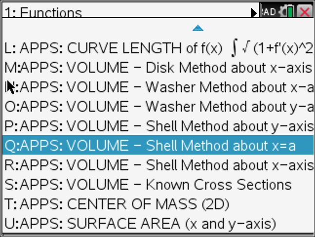 Tinspire CX CAS: Find Volume via Shell Method about axis parallel to y-axis