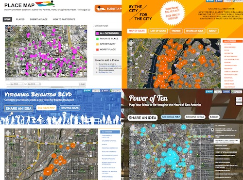 Screen shots of recent Digital Placemaking projects in Baltimore, NYC, Denver, and San Antonio
