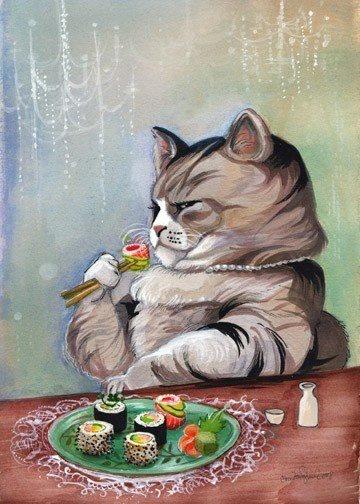 gato comiendo sushi, sushi, chefs, los mejores chefs, los mejores escritores