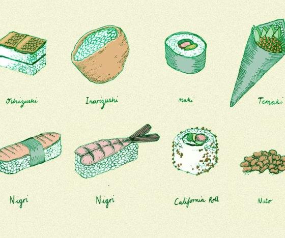 Suchi, sushis, ilustraci{on de sushi, dibujos de sushi