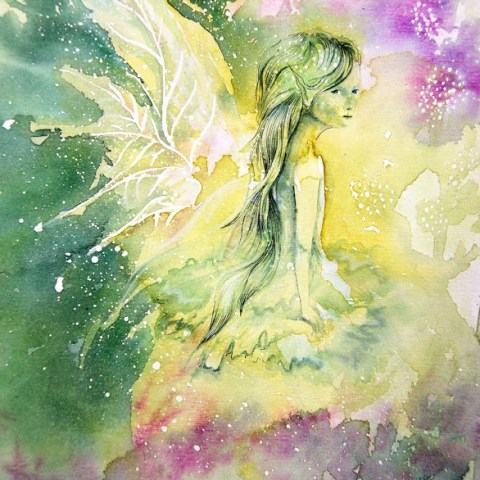 Aquarelle fantasy elf with wings