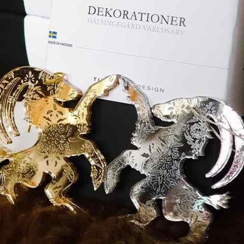 Hälsingebocken dekoration - guld, silver