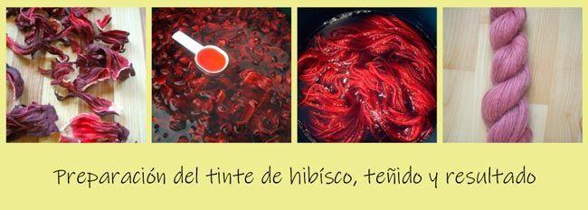 teñido de telas con tinte natural de hibisco