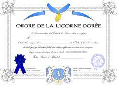 Diplome de l'Ordre de la Licorne dorée
