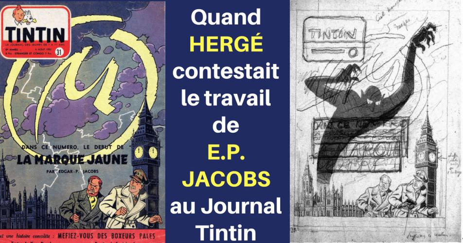 LA COUVERTURE DE LA MARQUE JAUNE CONTESTÉE PAR HERGÉ