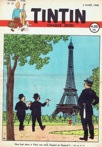 RARE ILLUSTRATION HERGÉ PARIS TOUR EIFFEL